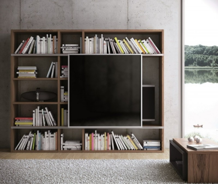 meuble tv bibliotheque bois design amenagement salon moderne