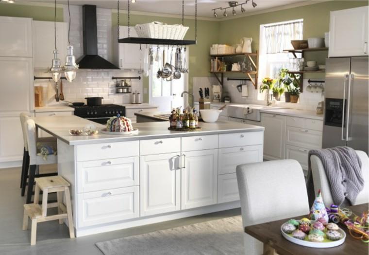Trendy bois blancs ilot central cuisine ikea blanche for Luminaire pour cuisine ikea