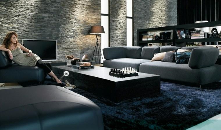 salon contemporain en noir et en