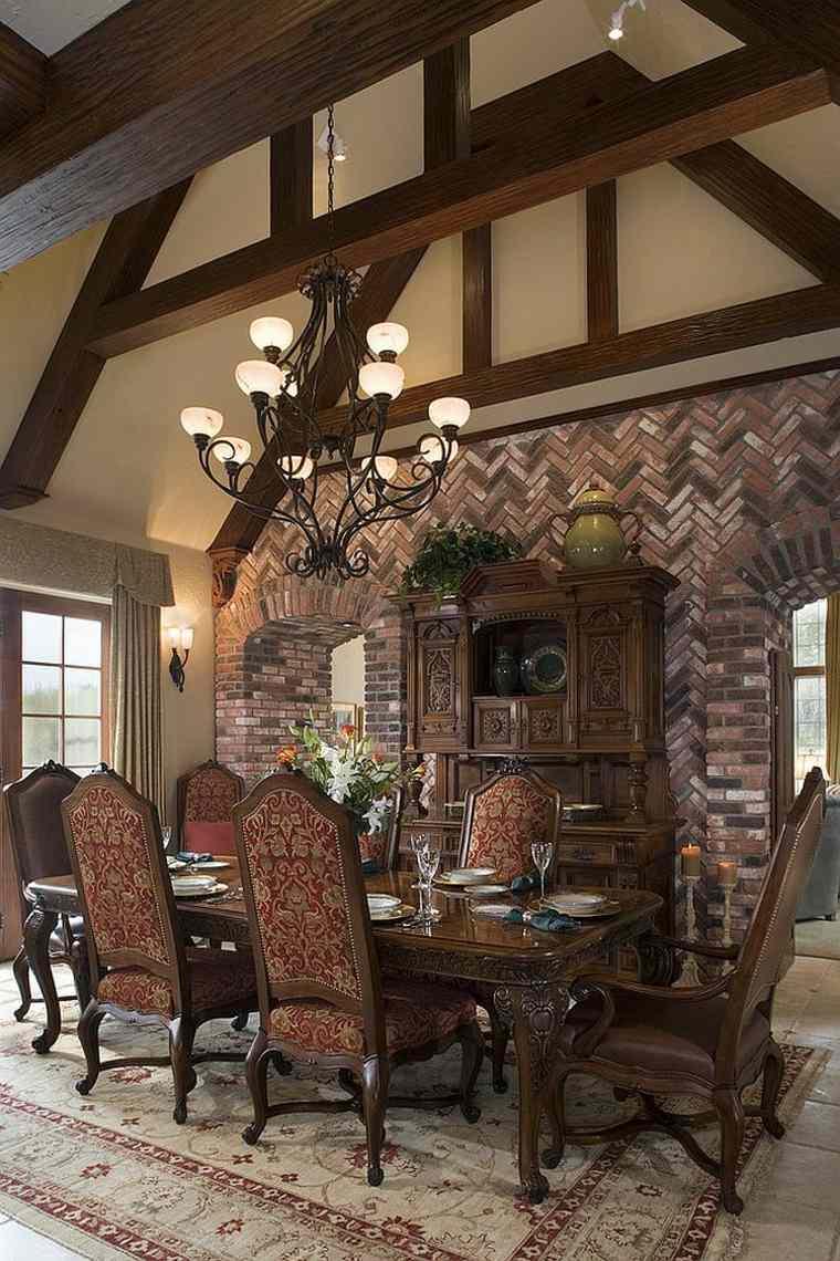 Dco salle  manger avec mur brique  50 ides originales