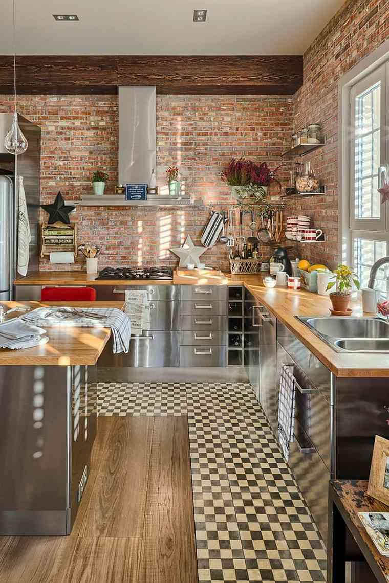 Mur briques exposes dans la cuisine une trs belle ide dco