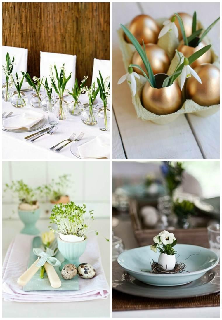 Dco table Pques avec ufs fleurs et petits lapins