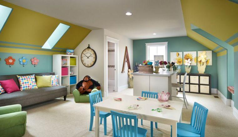 une salle de jeux coloré et organisé