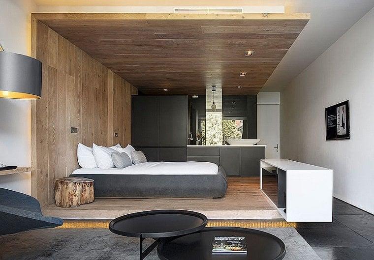 deco bois amenagement chambre moderne