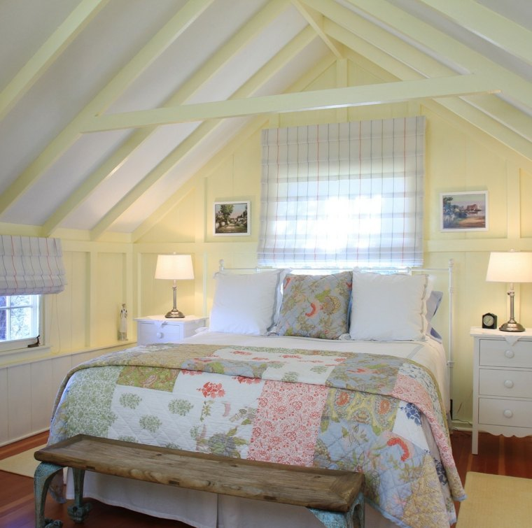 Poutres en bois pour la dco de la chambre  coucher moderne