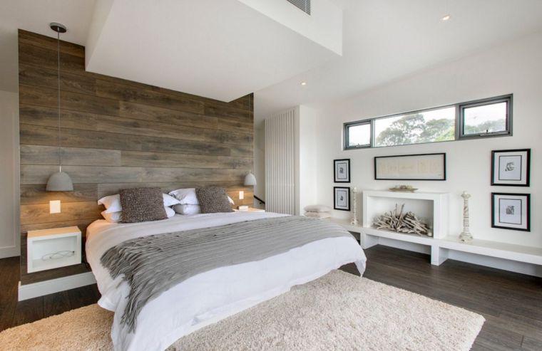 decoration chambre parement bois mur etageres