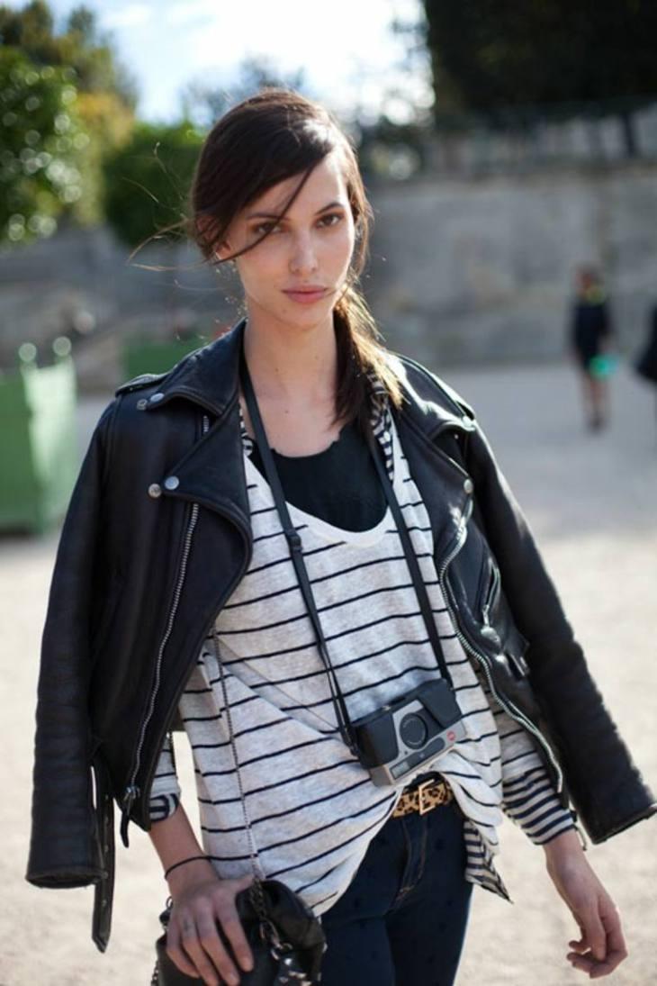 femme look printemps veste cuir idée blouson tendance blanc noir