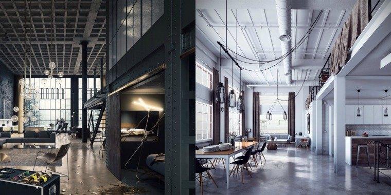 loft industriel amenager espace design moderne luminaire eclairage