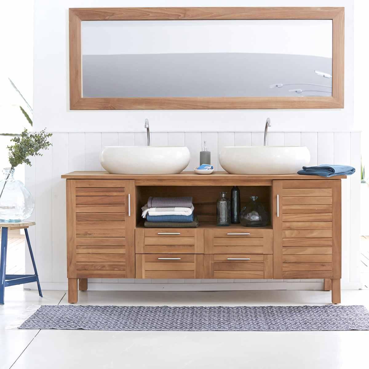Meuble salle de bain en teck et en bois moderne