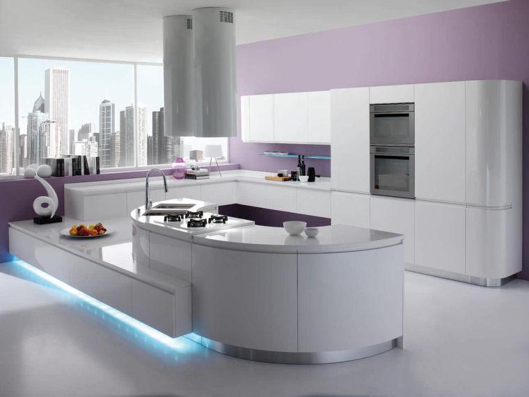 Cucina Moderna Con Isola Curva.Cucina Moderna Con Isola Curva Pareti Soggiorno Rivestite