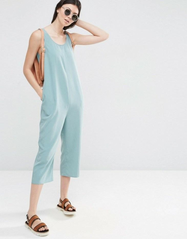 mode 2016 femme été printemps combinaison bleu lunettes soleil rondes sandales sac cuir
