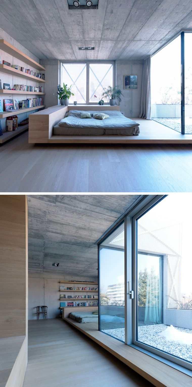 Lit futon et lit plateforme pour chambre adulte contemporaine