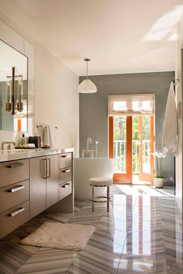 Carrelage salle de bain grise et bois en 37 ides de dco