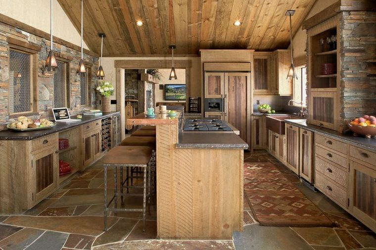La cuisine rustique ou lharmonie de la dco pierre et bois