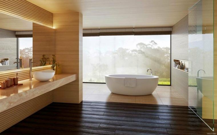 Salle de bain blanche et bois  la mode
