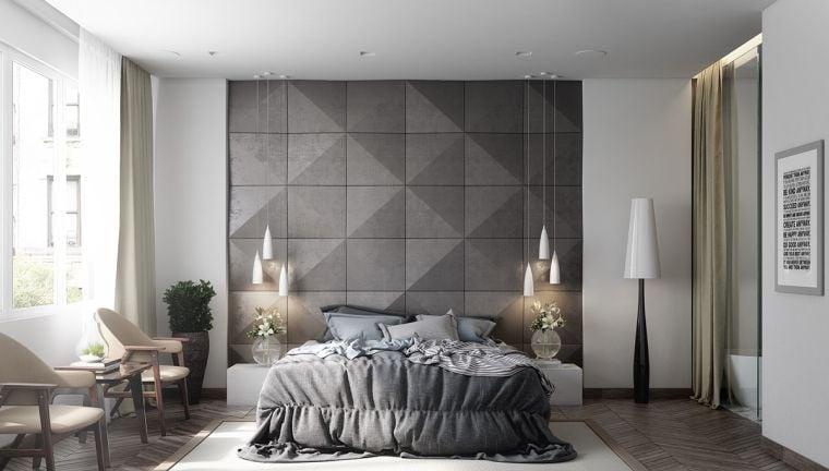 Couleur chambre design  42 espaces domins par le gris