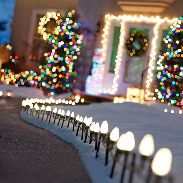 decoration de noel exterieure terrasse maison guirlande lumineuse