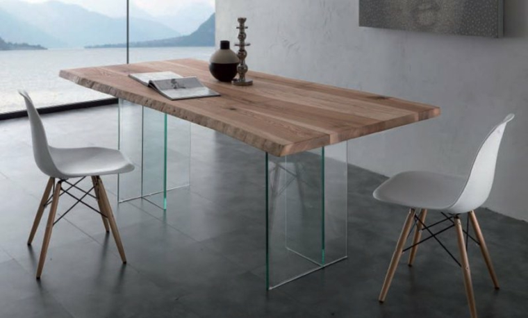 table de cuisine ronde en verre pied central