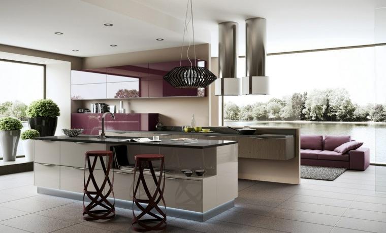 cuisine ouverte sur salon concue en violet et gris