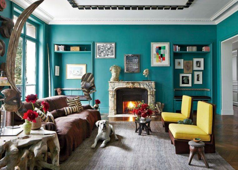 Dco salon bleu canard  peinture mobilier et accessoires