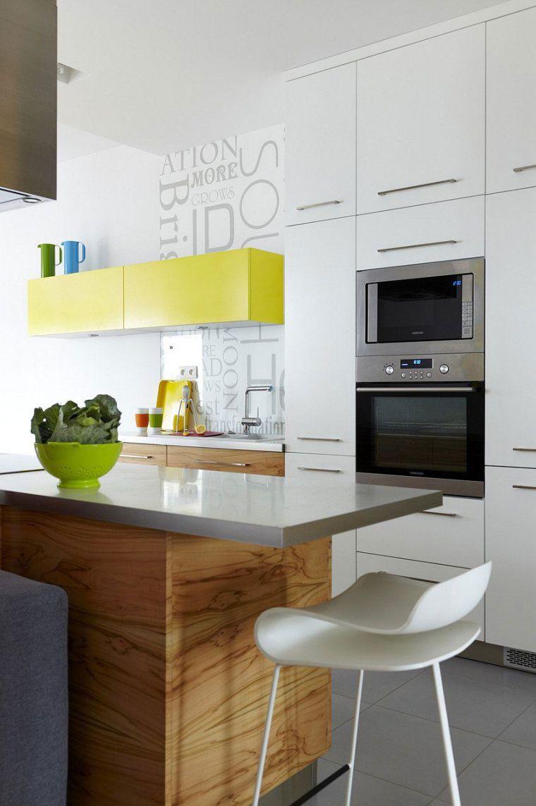 petite cuisine avec ilot central ou bar