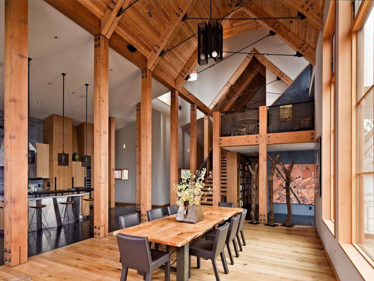 toit cathedrale maison plafond de salle a manger parement bois