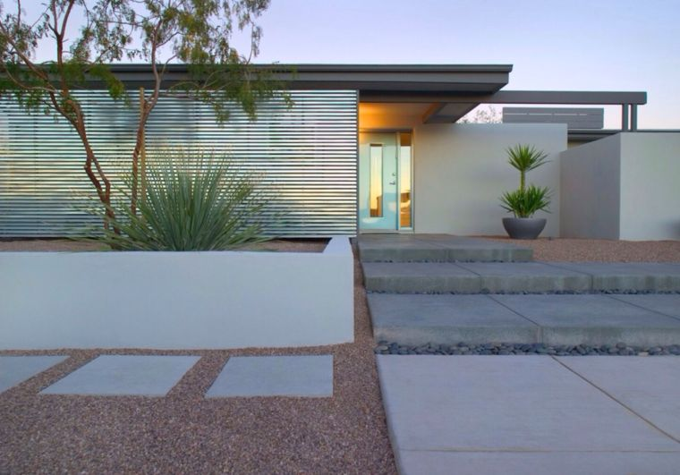 jardin devant maison moderne chic