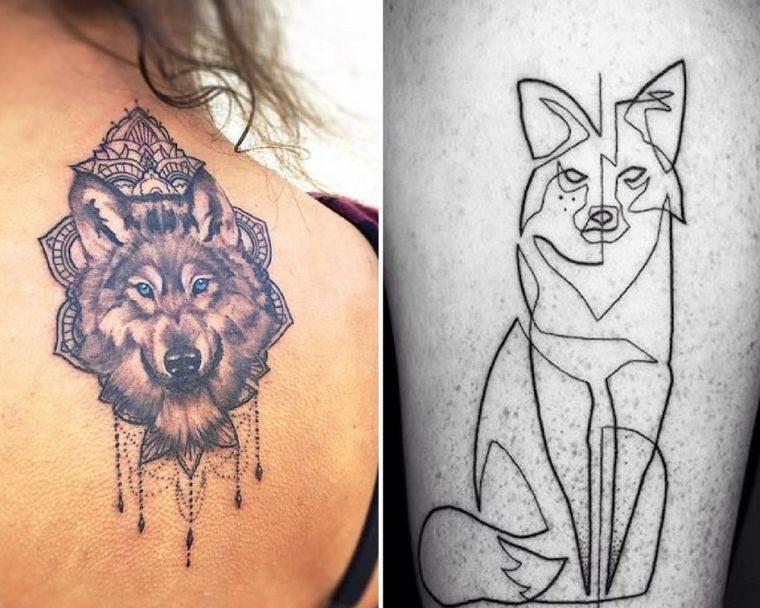 tatouage loup modele signification idees images