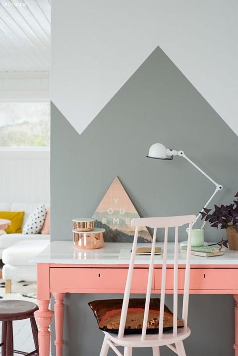 Le dernire tendance de dcoration le mur peint  moiti