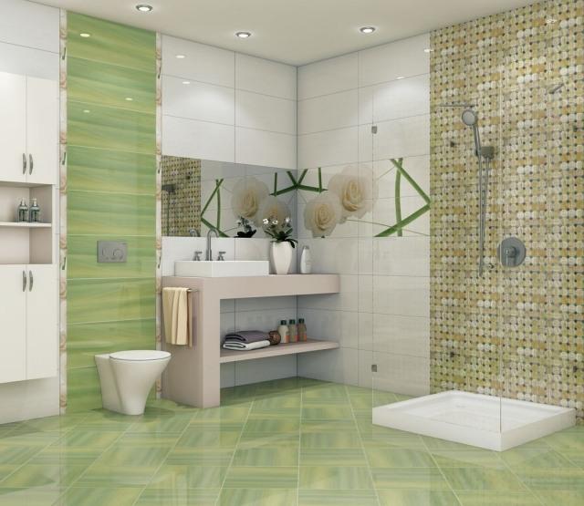 beautiful faience salle de bain vert anis pictures - lalawgroup.us ...