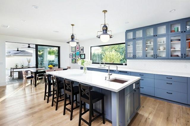sink kitchen cabinets cabinet manufacturers list déco intérieur - blanc et bleu, combinaison classique