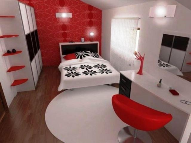decoration chambre en couleur rouge
