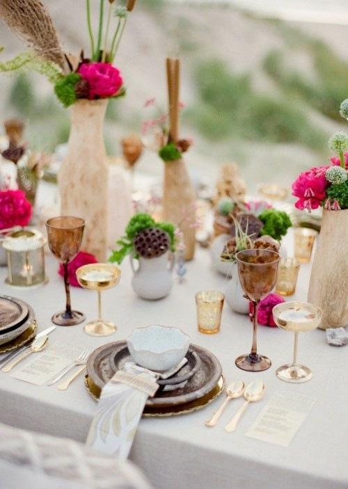 45 ides pour une table de mariage clatante de couleurs