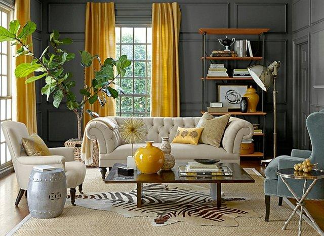 combinaison gris et jaune