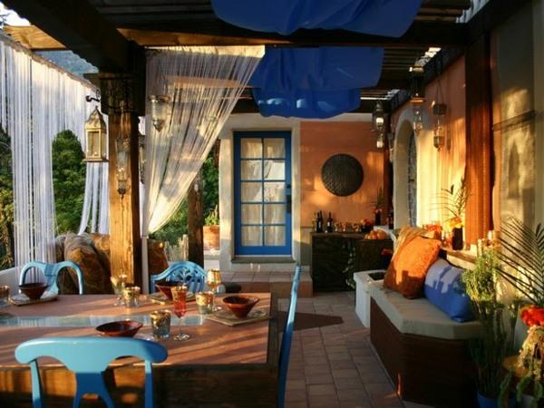 déco style marocain orange bleu