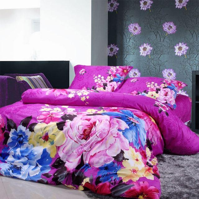 Ide dco chambre de fille ado  literie  motifs floraux