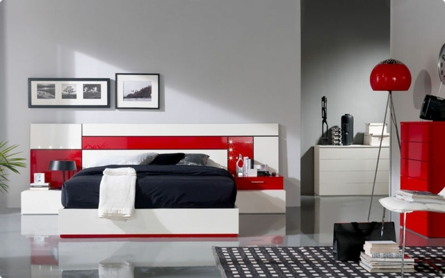 d co chambre rouge et blanc
