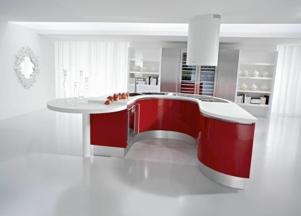 cuisine contemporaine en rouge