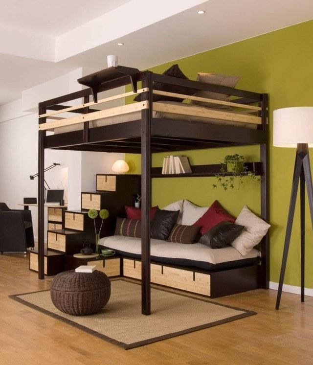 lit mezzanine 2 places et lits