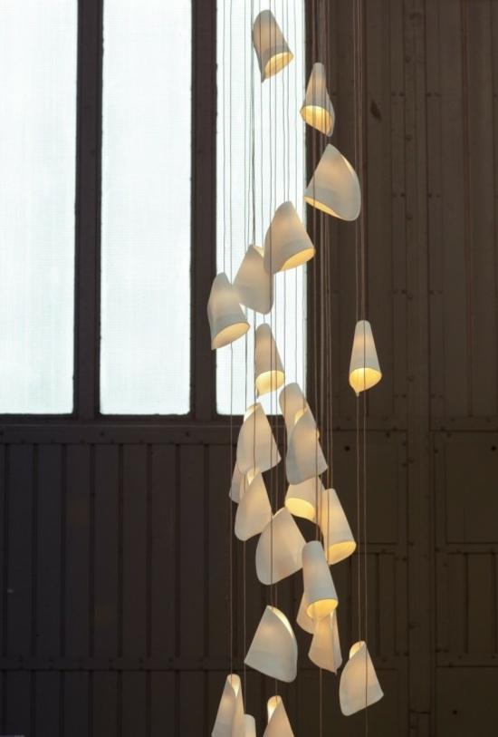 Luminaire suspension exceptionnel en porcelaine ultra fine
