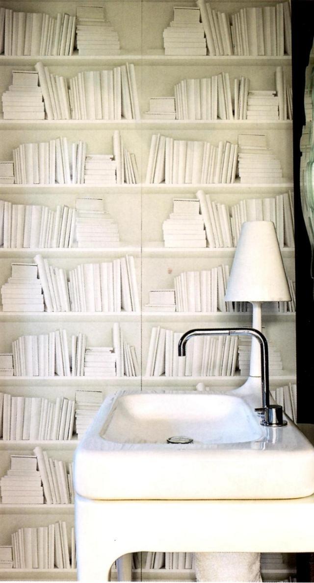 Papier peint trompe lil bibliothque pour lintrieur moderne