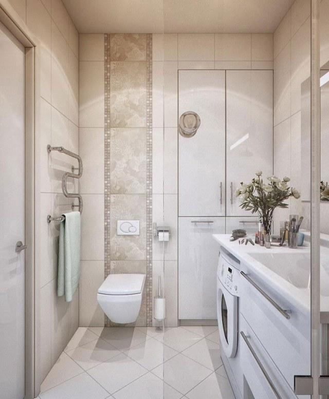 peinture-salle-bains-petite-carrelage-blanc-beige-brillant-mobilier-blanc peinture salle de bains