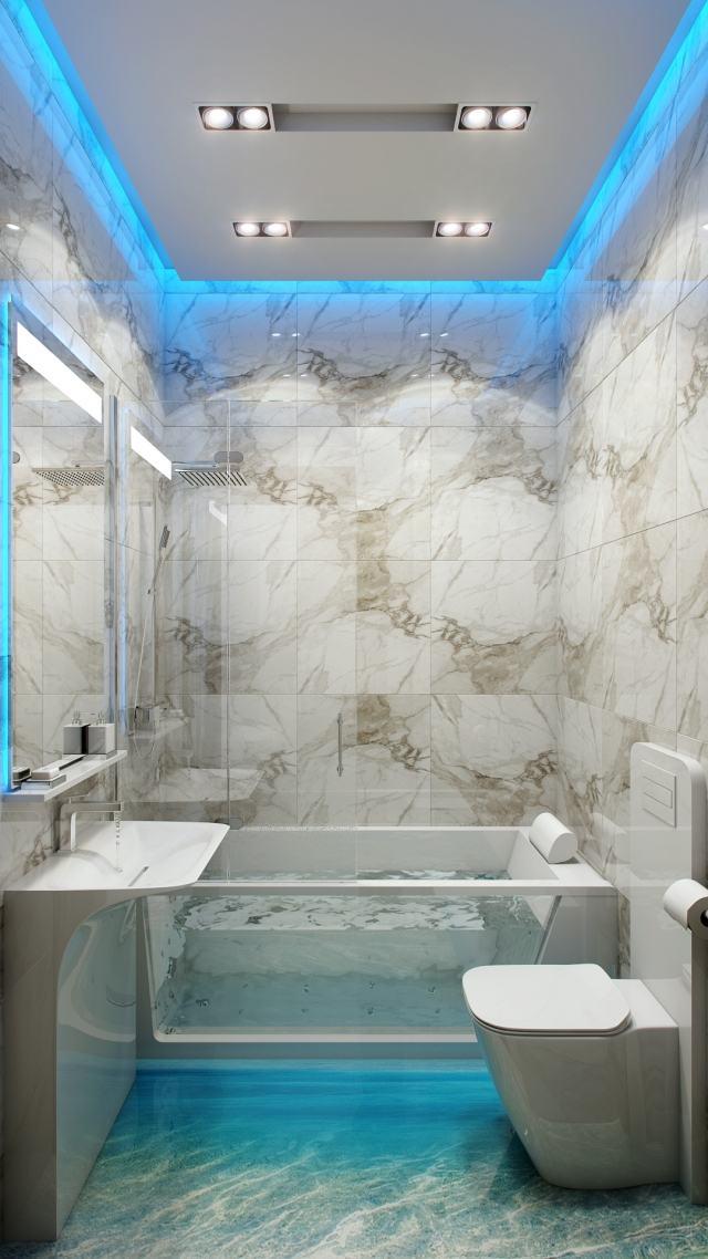 peinture-salle-bains-petite-carrelage-motifs-gris-éclairage-led-bleu-mobilier-blanc peinture salle de bains