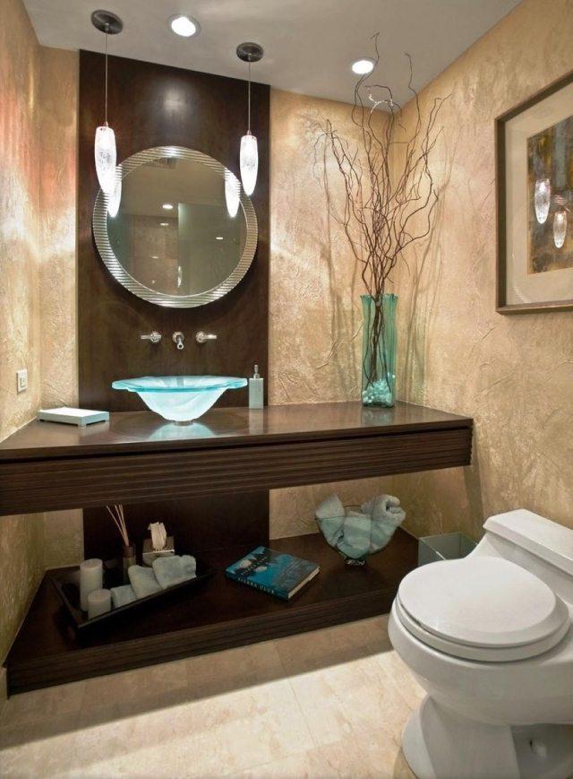 peinture-salle-bains-petite-murs-cappuccino-mobilier-bois-sombre-miroir-rond peinture salle de bains