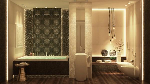 Salle de bain de luxe de design opulent et exotique