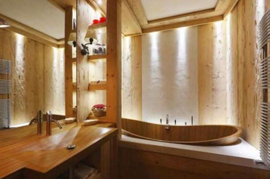 La maison rustique en bois italienne perdure la tradition