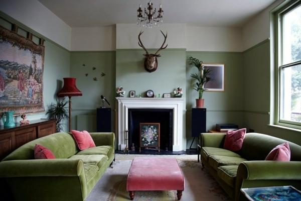 Dcoration de salon moderne en vert et gris  20 exemples