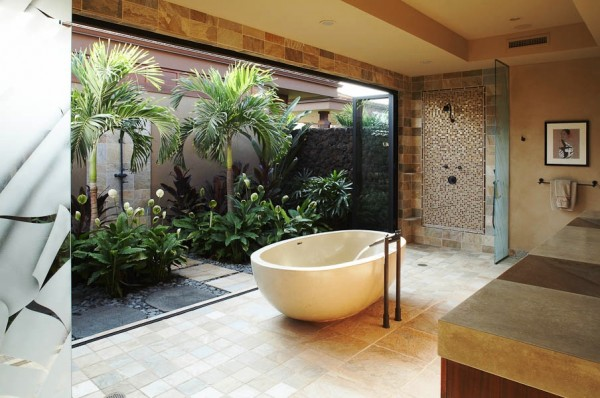 Salles de bains connectes  la nature