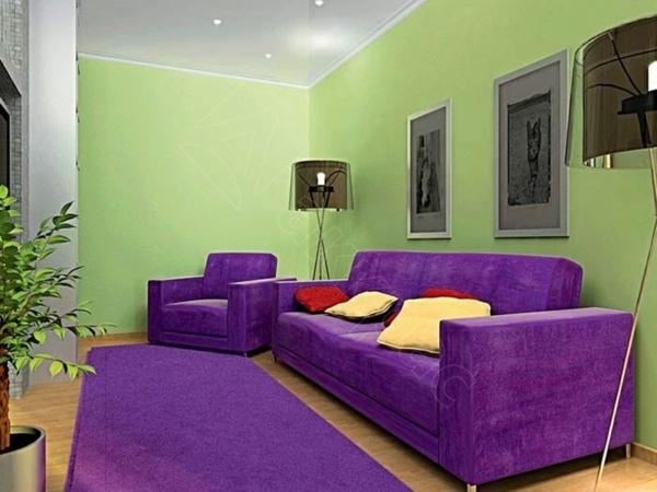Vert et violet  combinaison de couleurs tendance pour intrieur