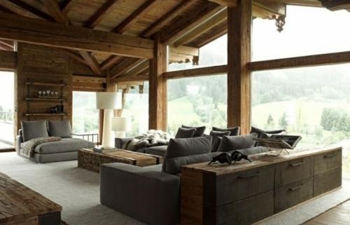 La salle de sjour faon chalet  charme alpin